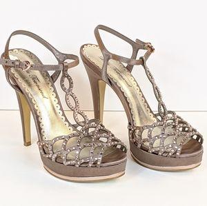 Rose Gold & Gray Gem Studded Tstrap Heels Size 7.5